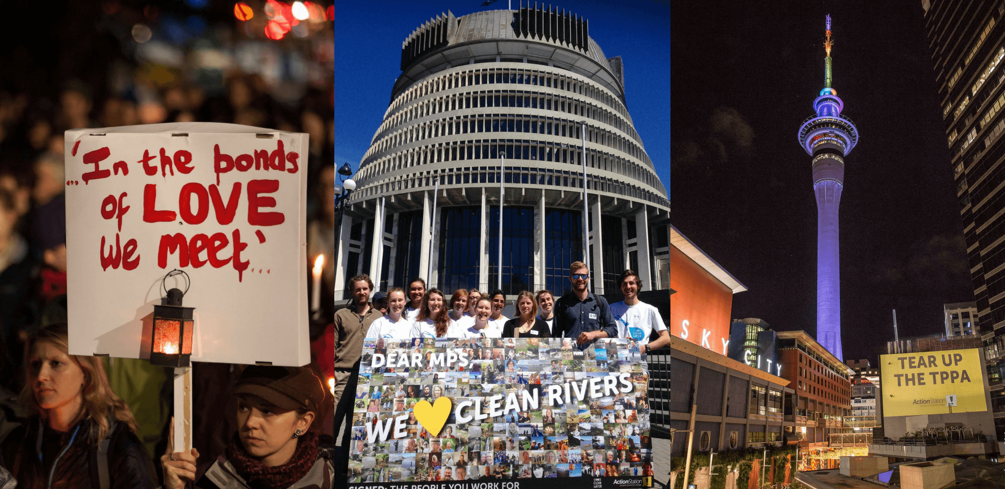 A group of people in front of the beehive with a sign asking MPs for clean rivers