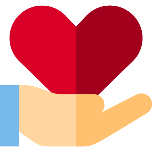 Icon of open palm holding a heart