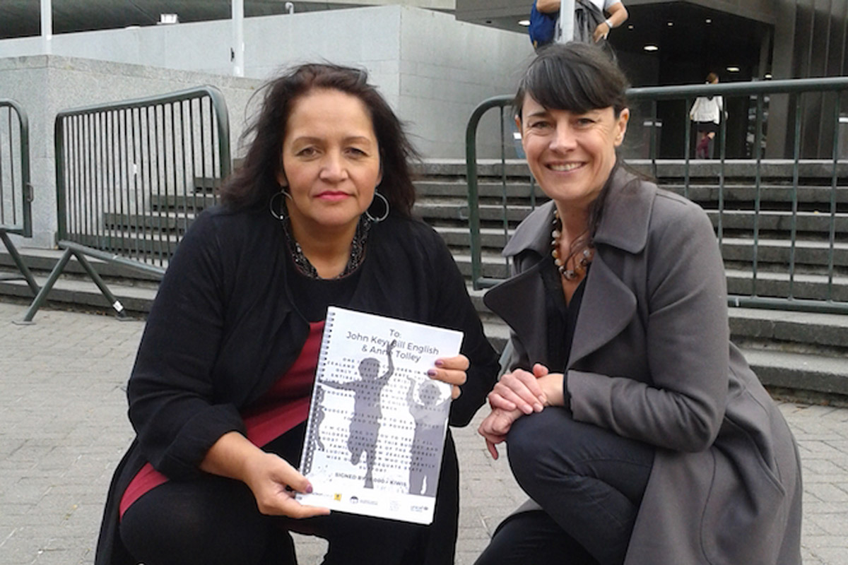 Campaign for real action to end whānau poverty being delivered to co-leader of the Māori Party Marama Fox